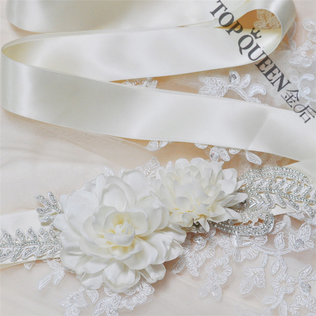 TOPQUEEN women's S251 handmade Beautiful Flowers Wedding evening dress sash Belts Bridal bride Belt Sashes for the party