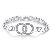 Famous Brand Woman Wedding Engagement Jewelry 925 Sterling Silver Chain Link Style Bracelet  Crystal Bangles