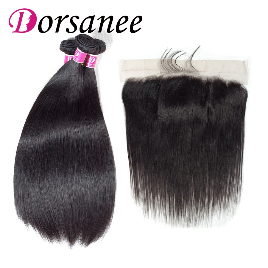 Dorsanee Pre Plucked Straight Front Lace Closure With Bundles Brazilian Human Hair Extensions Ear to Ear Frontals Non Remy Hair