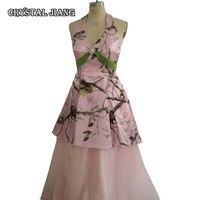Розовые камуфляжные платья подружки невесты из двух частей