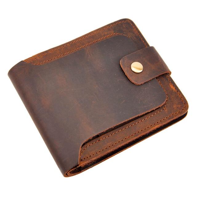 Cattle Men male Horizontal design vintage crazy horse Genuine leather Credit Card Cash Wallet Purse 406