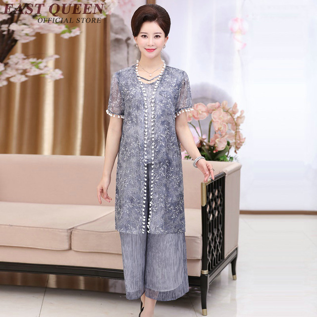 2018 Fashion Older Women Clothing Middle Aged Women Suit Summer