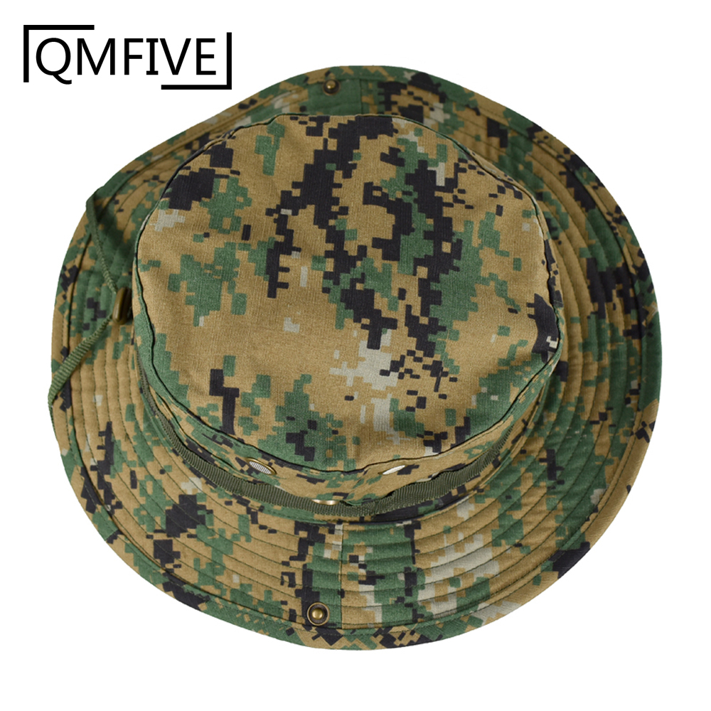 Tactical Boonie Hat, Unisex Camouflage Rounded Hat Fisherman Sun Protection Cap for Outdoor Airsoft Paintball Climb Camp