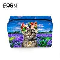Forudesigns 2017 thời trang phụ nữ du lịch dễ thương cats in trang điểm bag phụ nữ nhãn hiệu mỹ phẩm pouch động vật vệ sinh cá nhân túi