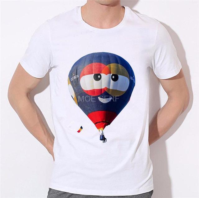 c4f703ae333a2 US $6.29 26% OFF|Hot air balloon Men's T Shirt Printing Men Letters Short  Mens tshirt Casual Hot Air Balloon T Shirts O Neck Tees Tops B 167#-in ...