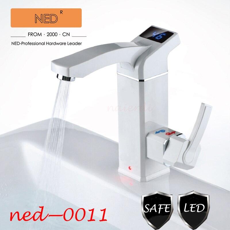 Marque NED chauffe-eau cuisine robinet salle de bains accueil électrique robinet robinet d'eau une seconde hors de LED chaude affichage de la température de l'eau
