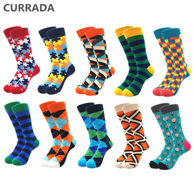 10pairs/lot Brand Quality Men Socks Combed Cotton colorful Happy Funny Sock Hot Sale fashion Casual long Mens compression socks