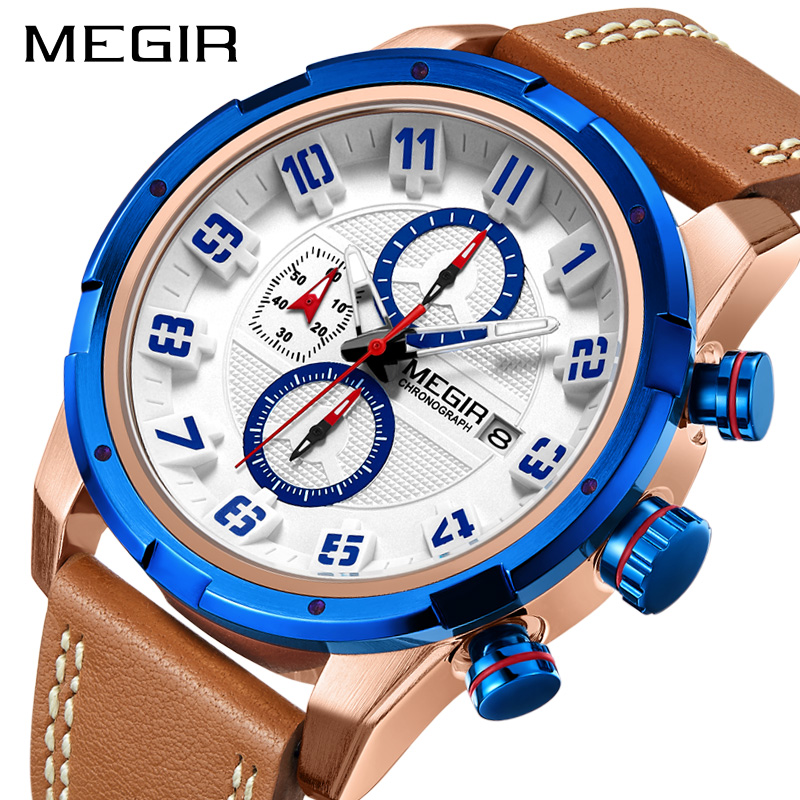 Casual Military Men Quartz Watches MEGIR Leather Strap Waterproof Chronograph Men Sport Wrist Watch Male Business Watch Clock ochstin sport watches for men fashion casual chronograph watches men leather sport male quartz watch male clock hour yellow face