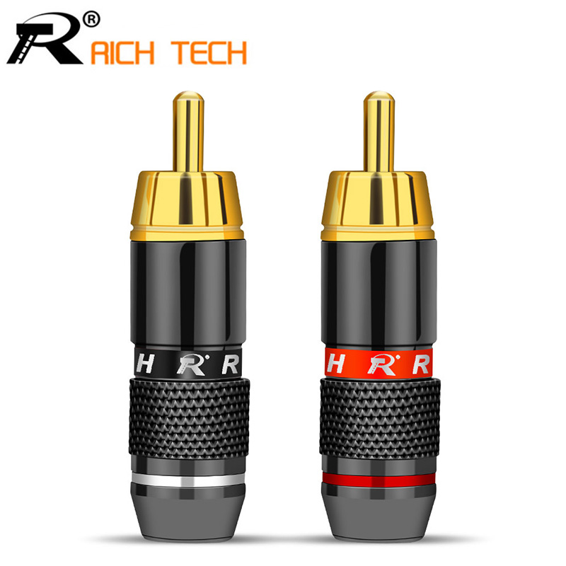 R 2Pcs/1Pair Gold Plated RCA Male Plug Adapter Video/Audio Wire Connector Support 6mm