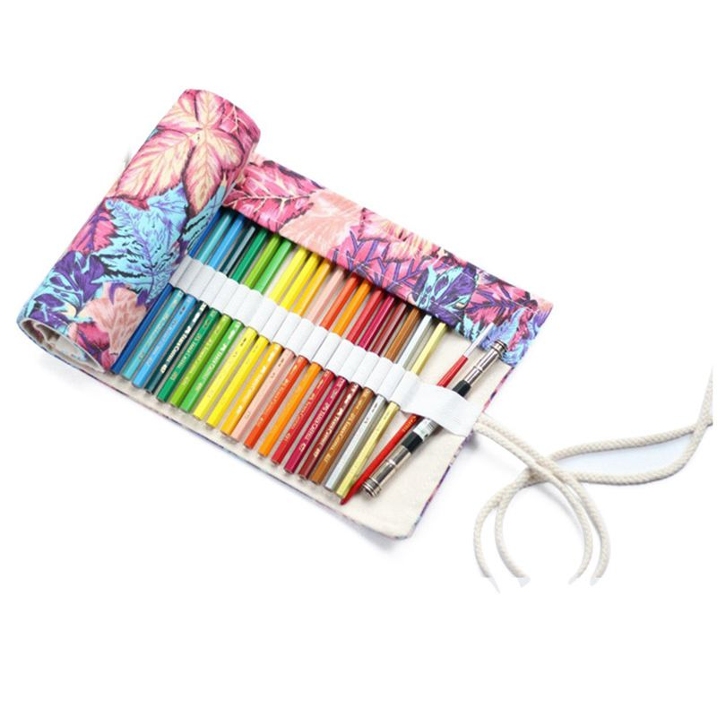 Multipurpose 72 Slots Travel Drawing Coloring Pencil Roll Organizer For Artist, Pencils Pouch Case Hold For 72 Colored Pencils