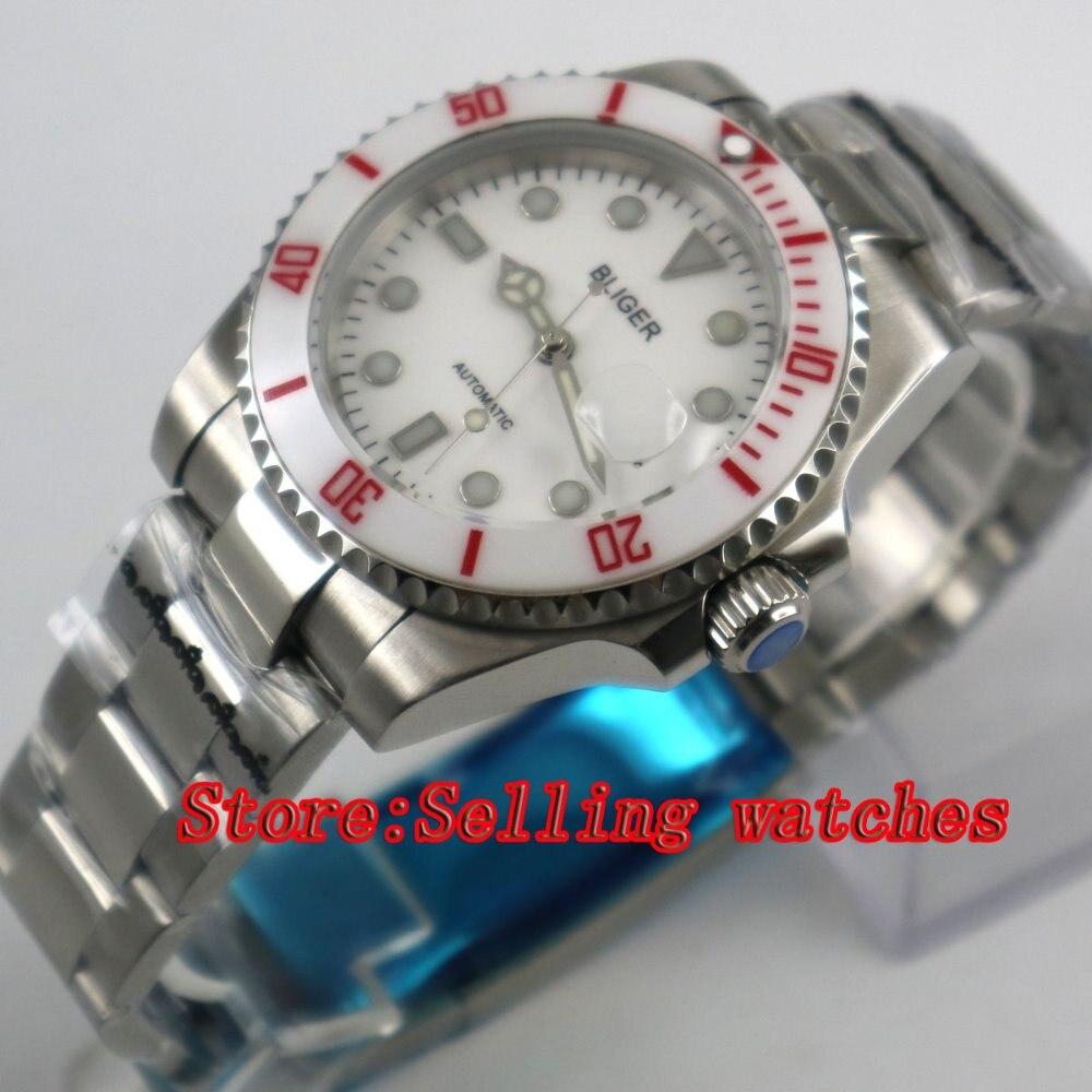 40mm Bliger white Dial white ceramic bezel Sapphire Glass Automatic Movement Men's Mechanical Wristwatches 44mm bliger gray dial blue ceramic bezel sapphire crystal automatic movement men s mechanical wristwatches