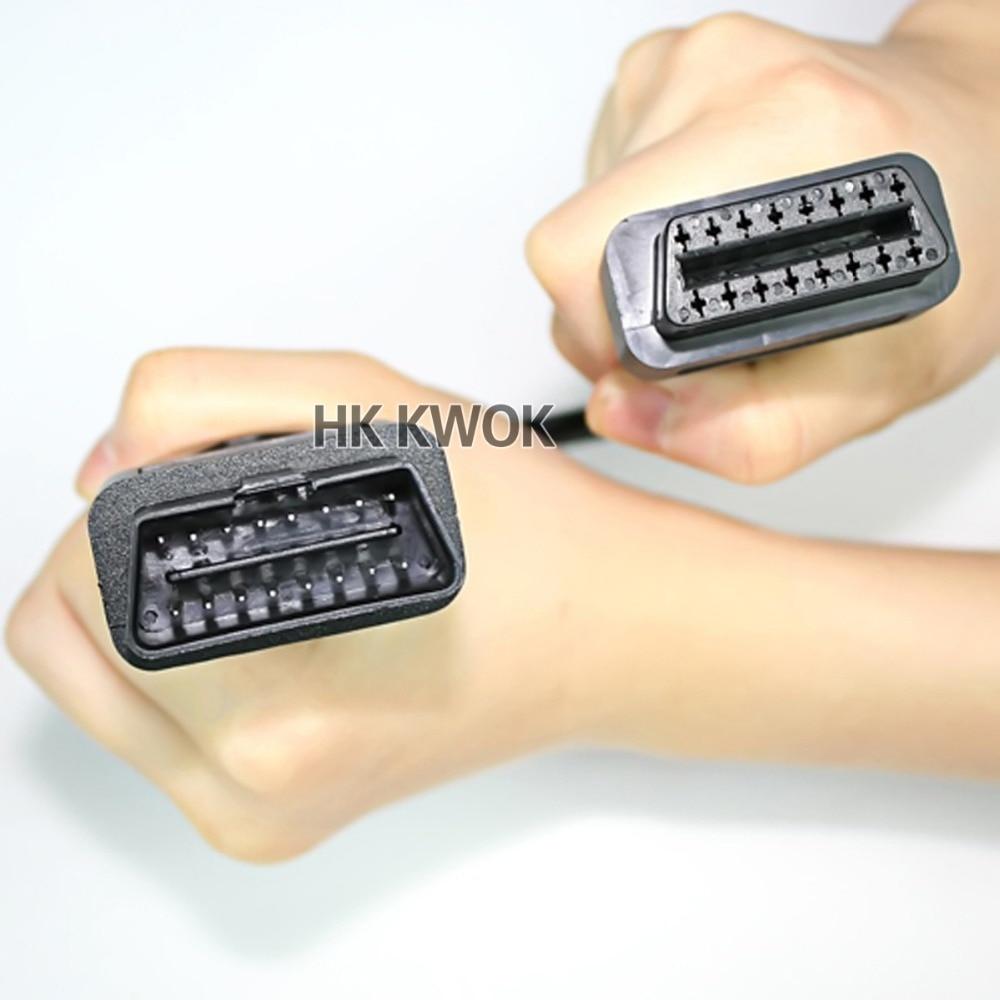 Оптовая продажа 30 см OBD2 кабель 16 Pin к 16 Pin разъем папа к женскому Удлинительный шнур автомобильный диагностический адаптер OBDII OBD 2 кабель