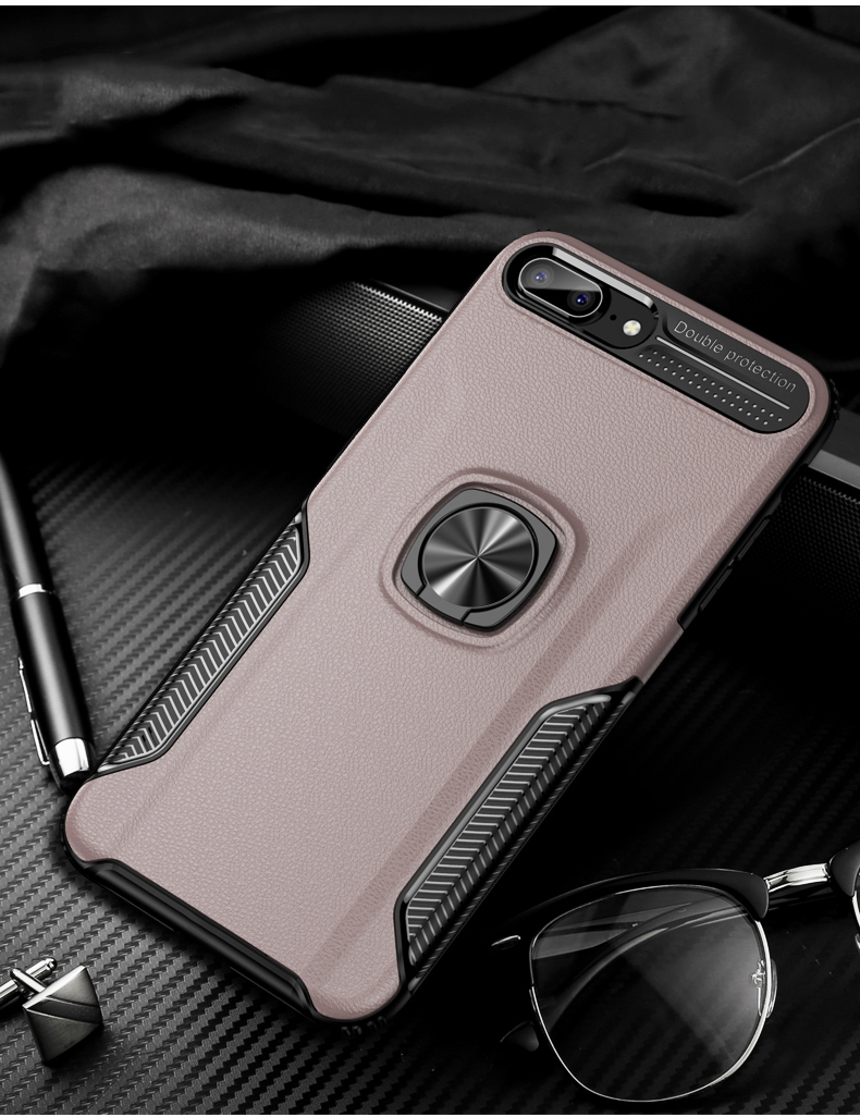 Luxury Leather skin Shockproof phone case For iPhone 7 8 6 6s plus back cover For iphone XR XS max cases with magnet ring holder (13)