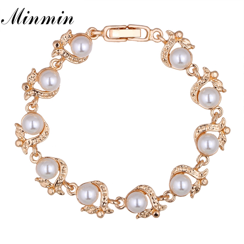 Minmin Elegant Simulated Pearl Bracelets for Women Gold/Silver Color Fashion Jewelry Bracelet Femme Christmas New Year MSL236
