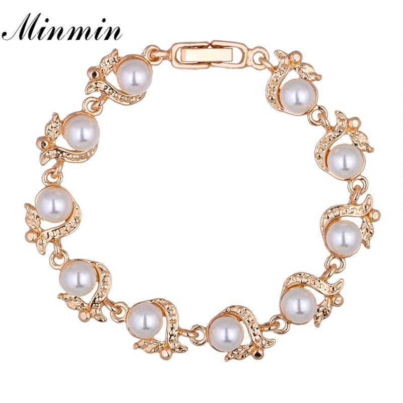 Minmin Elegante gesimuleerde parelarmbanden voor vrouwen Goud / Zilverkleur Mode-sieraden Armband Femme Kerstmis Nieuwjaar MSL236