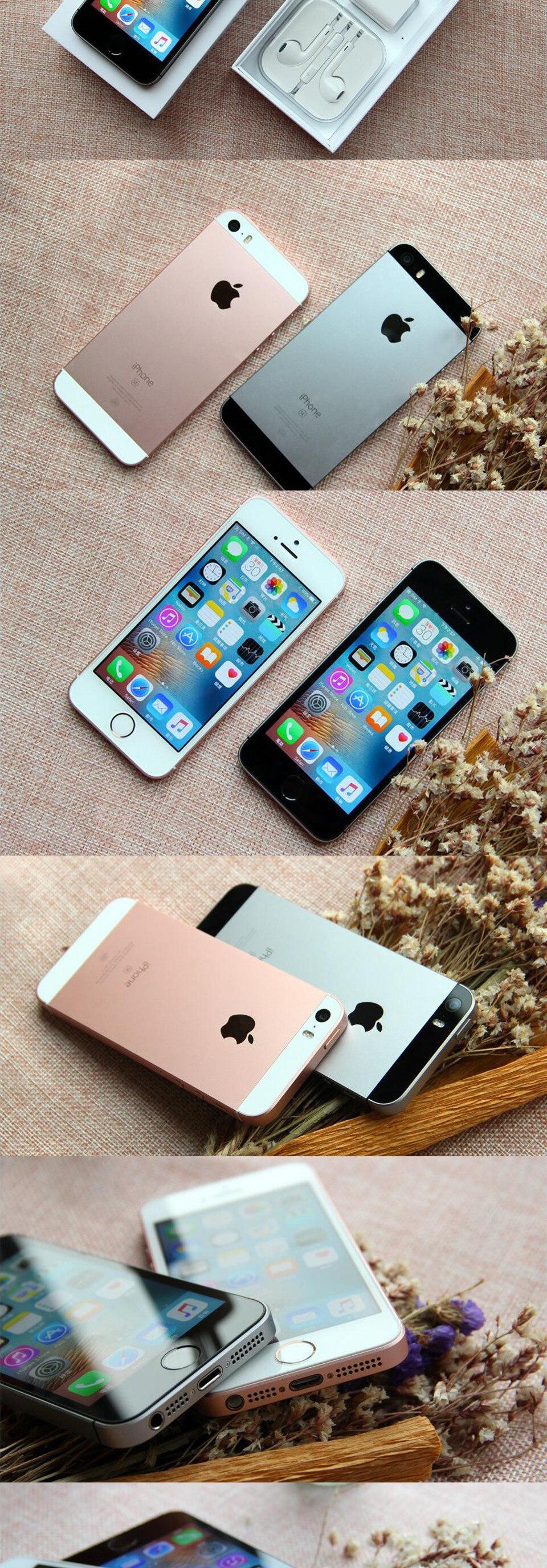 Разблокированный Apple iphone SE, мобильный телефон, 4 аппарат не привязан к оператору сотовой связи 4,0 '2 Гб Оперативная память 16/64GB Встроенная память A9 двухъядерный за счет сканера отпечатков пальцев Подержанный мобильный телефон iphone se