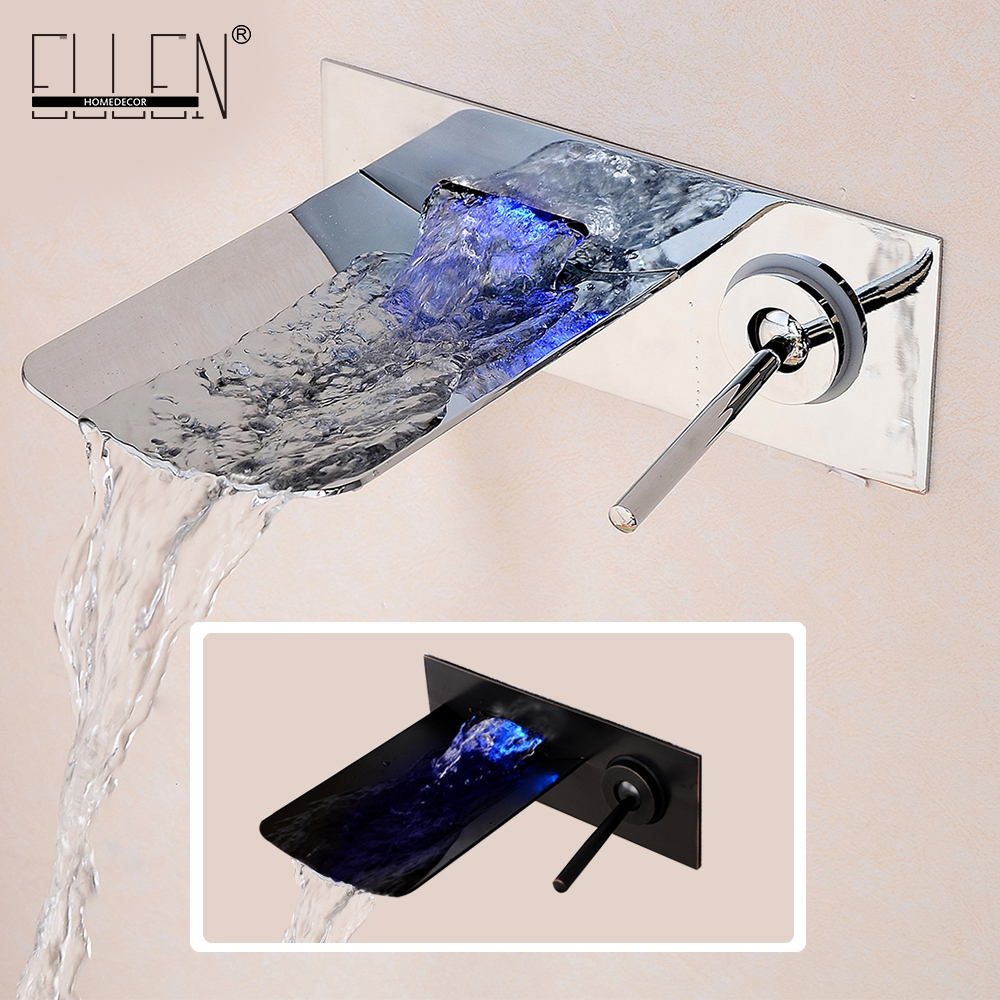 Water Led Bathroom Tap Faucet Temperature Color Changing LED Waterfall Wall Mount Bathroom Sink Faucet