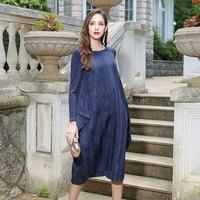 VOA 2018 осень темно синий длинный рукав свободный мусульманский Повседневный халат платье высокого качества плюс размер нерегулярное шелков