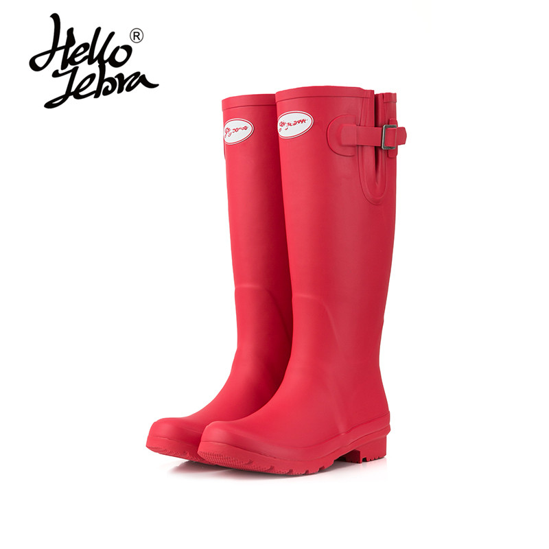 Women Matte Green Olive Red Tall Rain Boots Ladies Low Heels Waterproof Welly Boots Solid Buckle High Style Nubuck Rainboots women tall rain boots ladies low hoof heels waterproof graffiti buckle high nubuck round toe rainboots 2016 new fashion design