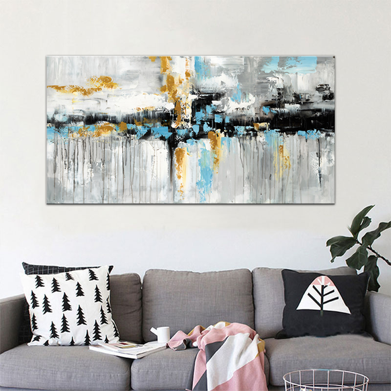 US $3.14 48% OFF|Blue Brown Modern Abstract Oil painting Poster Print Wall  Art Canvas Bedroom Wall Art Picture for Living Room Cuadros Home Decor-in  ...