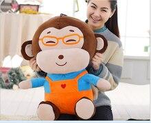 big creative lovely orange cloth monkey toy stuffed glasses boy monkey doll gift about 60cm