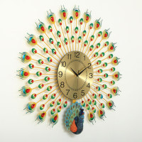 Large 3D Peacock Wall Clock Home Decoration Digital Wall Watch Living Room/Bedroom Mute Clock Wall Modern Design Clocks 3 Style