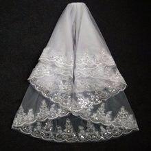 f84043119fa 2019 мода два Слои Фата Белый Кот свадебная вуаль из тюля с расческой  кружева края аксессуары для свадьбы свадебный вуали в нали.