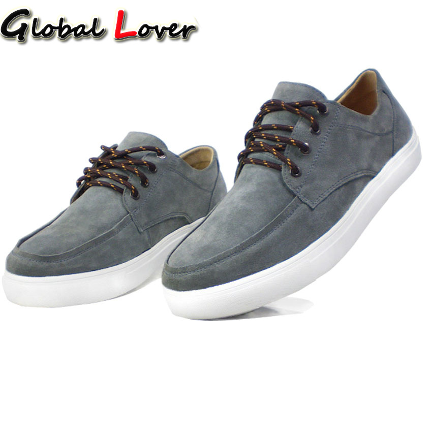 ФОТО Global Lover Fashion Design Genuine Suede Leather Men Casual Shoes 2017 New Arrival Flat British Style Shoes Man Big Size 44-50