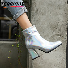 TASSLYNN 2019 Winter Boots Women Patent Leather Pointed Toe Chelsea Boots Hoof Heels Zip Ankle Boots Sexy Women Shoes Size 34-43 czrbt retro style pointed toe genuine leather women ankle boots high heels 6 5cm patent leather deep color women casual shoes