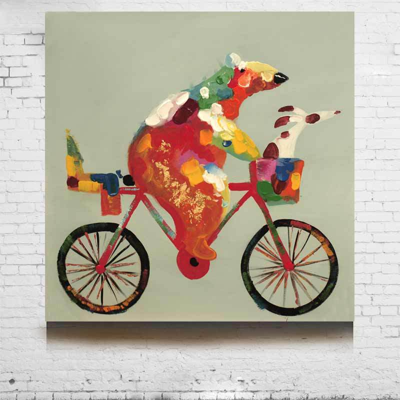 Preferred Modern Animal Oil Painting Hand painted Bear Ride A Bicycle On  ML75