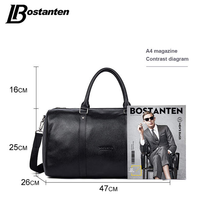 004f469e8a BOSTANTEN Genuine Leather Men Travel Bags Overnight Duffel Bag Weekend  Travel Large Tote Bags Crossbody Travel
