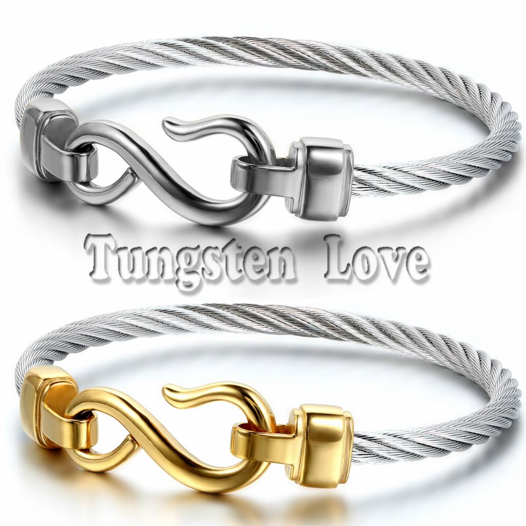 steel color jewelry bracelet brazaletes infinity mujer bangles women charm two stainless fashion bangle love hooks item from in pulseras bracelets for