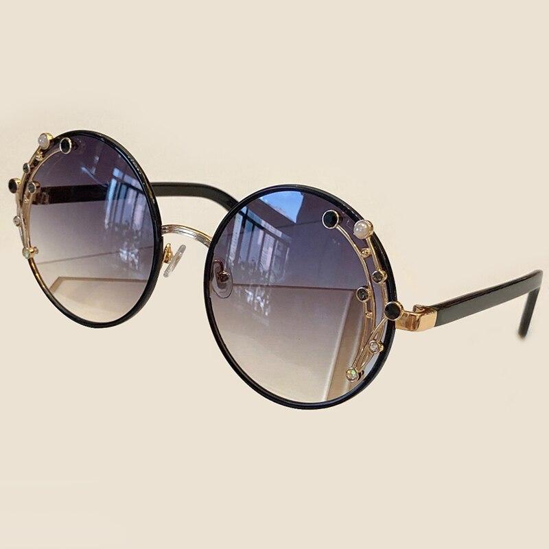 Luxury Oversized Round Sunglasses Women 2019 UV400 Retro Brand Designer Metal Frame Sun Glasses For Female