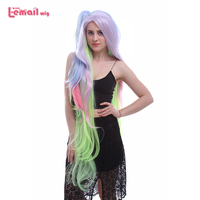 L email wig Brand New Arrival NO GAME NO LIFE Shiro Cosplay Wigs 135cm Long Mixed Color Synthetic Hair Perucas Women Cosplay Wig