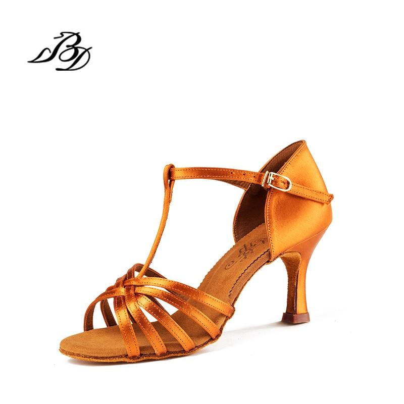 High grade Dance shoes Women Soft Bottom BD 217 Ballroom Professional Sports shoes woman BDDANCE SATIN