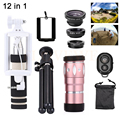 12in1 10x telescópio telefoto lentes lentes da câmera do telefone + tripé titular + monopé + fisheye wide angle lens macro para iphone meizu