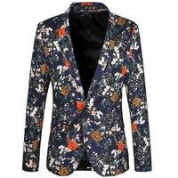 2015 New Arrival Blazer Men Autumn Mens Fashion Slim Fit Single Button Floral Blazer Suit Jacket