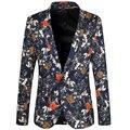 2017 New Arrival Homens Blazer Primavera Mens Fashion Slim Fit Floral Blazer Terno Homens Jaqueta Único ButtonBrand Projetos Homens Blazer 6XL