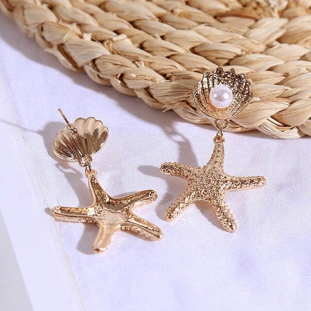 Mode bohème femme métal coquillage étoile de mer goutte boucle doreille pour les femmes Boho alliage or argent couleur balancent boucle doreille bijoux de fête