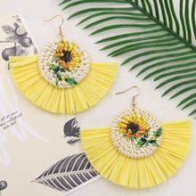 Summer Raffia Tassel Earrings for Women Fan Wicker Rattan Earring Natural Vine Braid Bohemian Earing Boho Jewelry 2019