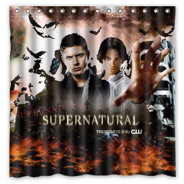 Supernatural Gehandelt Durch Jared Padalecki Und Jensen Ackles Hintergrund  Gedruckt Wasserdicht Polyester Dusche U0026 Bad Vorhang (.