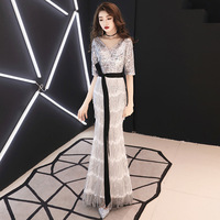 Вечернее платье юбка Женская длинная рыбий хвост благородное элегантное для похудения вечерние банкетные торжества высококлассное блестя