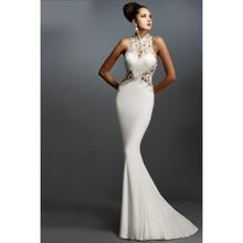 Hohe Qualität Appliqued Halfter Sleeveless Geöffnete Zurück Mermaid weiß abendkleider vestido de festa spitze appliques prom kleid