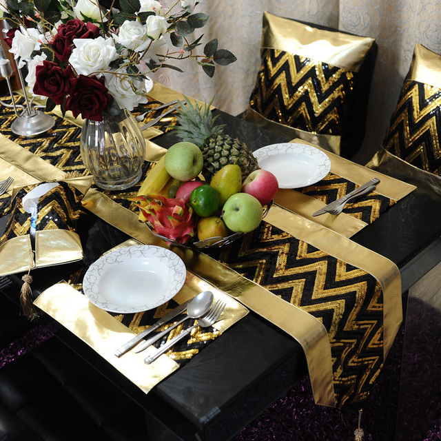 Superieur Wholesale Black Gold Pu Table Runner Placemat Pillow Cover / Customize  Bling Bling Table Set/