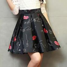 90d8041b0e0 Vintage High Waist Pleated Skirt Women Lips Print Knee length Skirts 2016  Summer Style Saia feminina