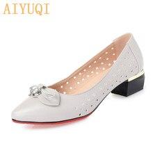 Купить с кэшбэком AIYUQI Women's sandals 2019 spring new genuine leather women's shoes, large size 41 42 bow hollow casual rhinestone shoes women