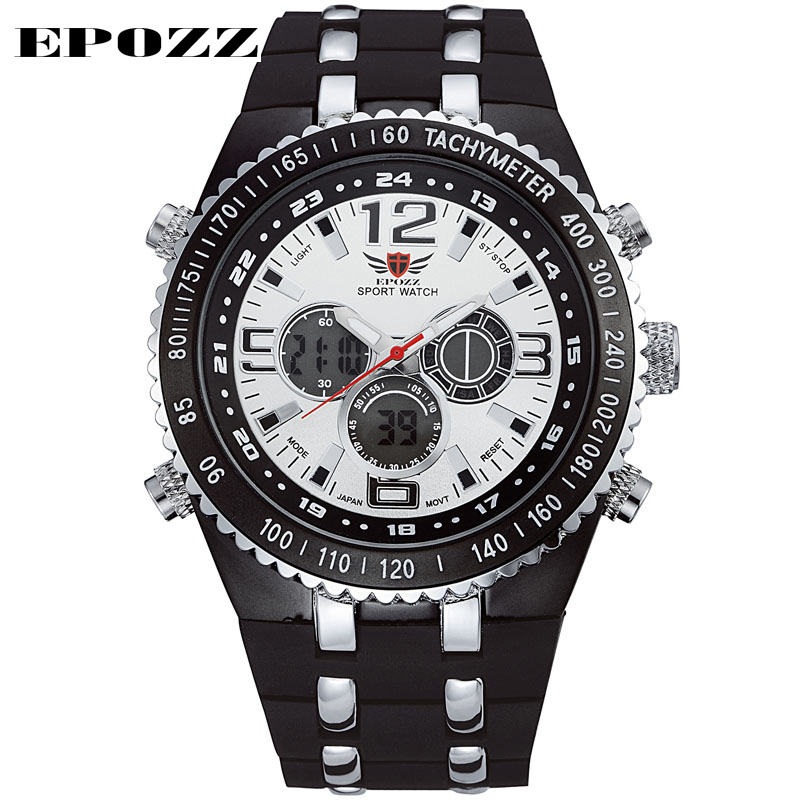 Men Military Analog Digital Dual Time Zone Outdoor Sports Watch LED Black light Display Date Function Brand Epozz EP1107 - EPOZZ Boutique Watches Store store