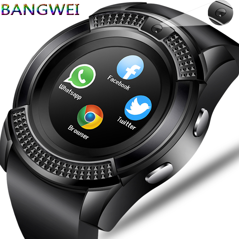 BANGWEI hombres y mujeres reloj inteligente reloj de pulsera apoyo con cámara Bluetooth tarjeta SIM TF Smartwatch para Android Teléfono par ver