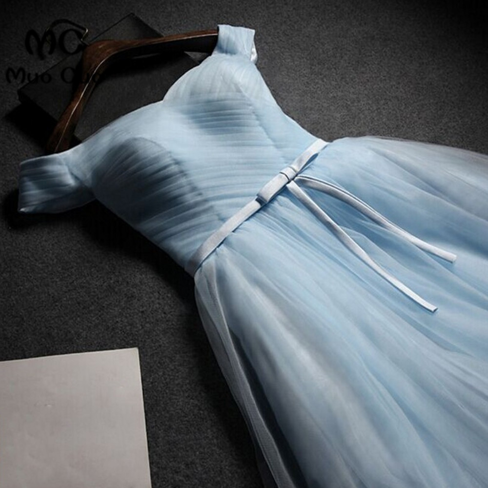 2018 Off Shoulder Junior   Bridesmaid     Dresses   Short Wedding Party   Dress   Short Sleeves Pleat Lace Up Back Formal   bridesmaid     dress