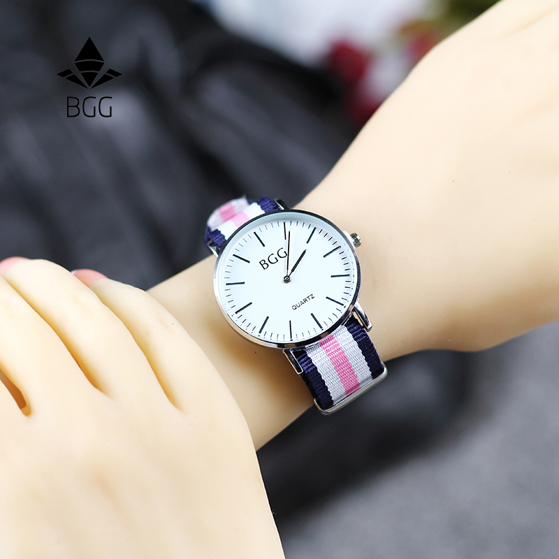 Classic Nylon stripes band Women's Fashion Watches BGG Brand Simple Ultra thin Quartz Watch Women Casual Wristwatch Clock Gifts цена